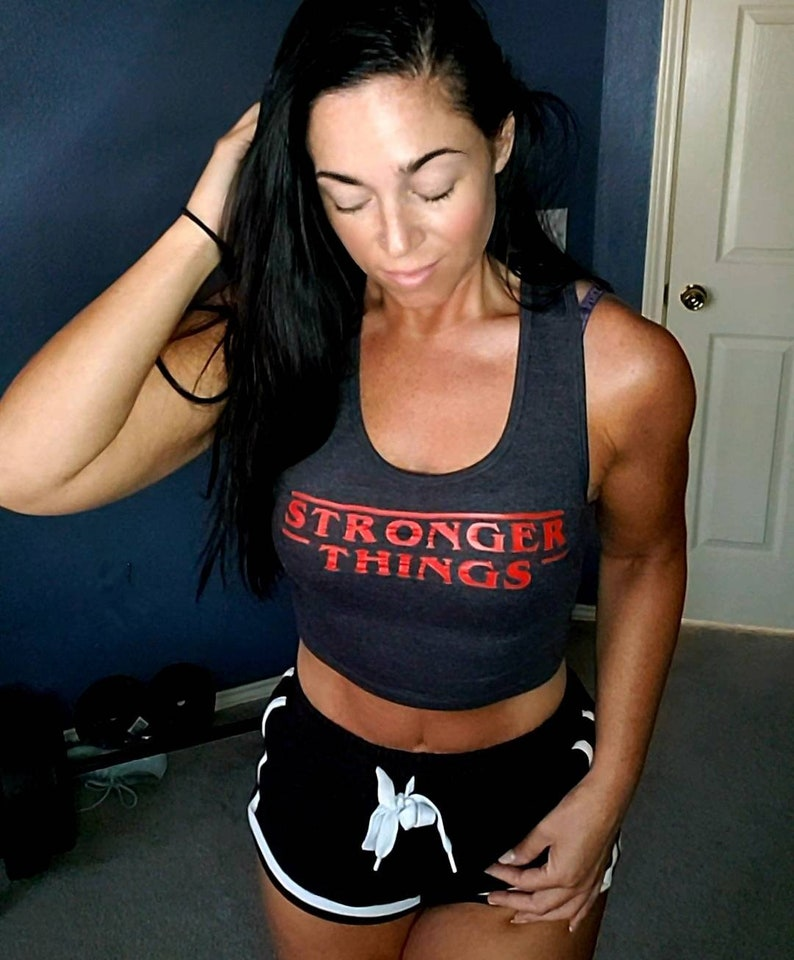 Charcoal Stronger Things Cropped Racerback Tank image 0