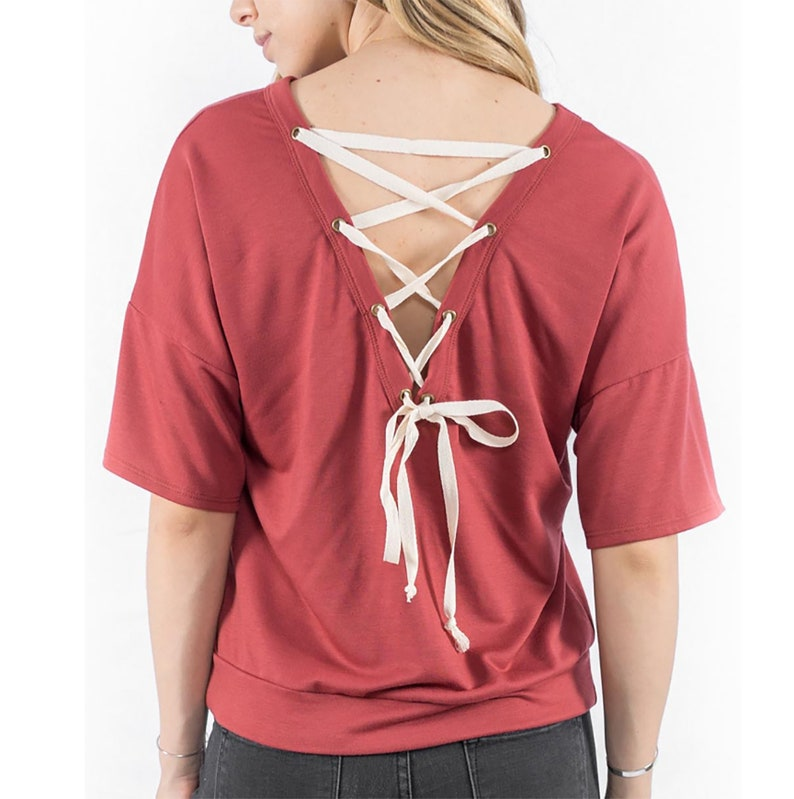 Red Pullover Sweatshirt w/Lace-Up Detailing in Back image 0