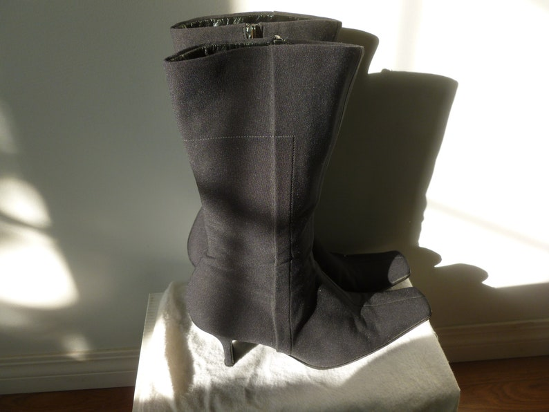 a474701c9642 Vintage Prada Mid-Calf Leather and Black Stretch Nylon Sexy | Etsy