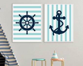 Nautical Nursery Decor, Boy's Room Wall Art, Navy Blue Anchor, Set of 2 Nursery Art, Printable Decor, Nursery Art Set, Navy Nursery Decor