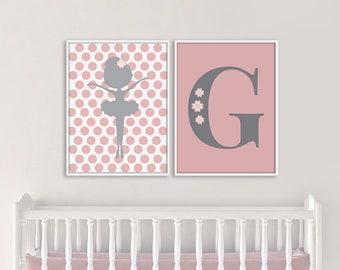 Ballerina Nursery Print Set, Custom Monogram Wall Art Set, Custom Nursery Art Print Set, Ballerina Printable Art, Monogram Decor, Girl Decor