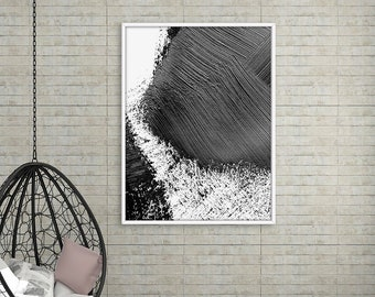 Black Abstract Paint Brush Wall Art, Abstract Art Print, Ink Print, Minimalist Poster, Black and White, Digital Download, Modern Wall Decor
