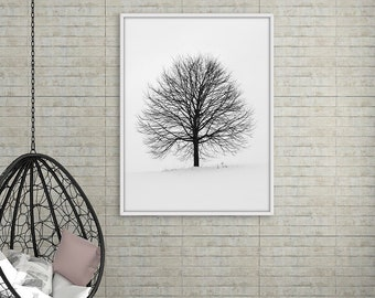 Black and White Tree Wall Art, Nature Art Print, Minimalist Tree Print, Tree Decor, Scandinavian decor, Digital Download, Nature Wall Art
