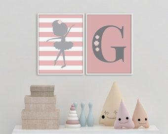 Custom Monogram Nursery Art, Pink Ballerina Print Set, Girl's room decor, Ballerina Print Set, Custom Monogram Wall Art, Monogram Printable