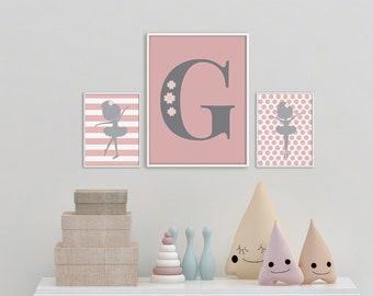 Custom Ballerina Print Set, Set of 3 Nursery Print, Custom Monogram, Pink Gray Nursery Art, Ballerina Wall Art Set, Printable Girl decor