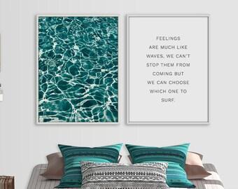 Sea foam Print Set, Coastal wall art set, Coastal Print, Inspirational Print, Modern wall art, Scandinavian art, Wall decal, digital print