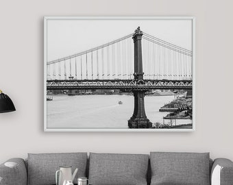 Manhattan Bridge Print, Black and White Wall Art, Manhattan Bridge New York City, landscape poster, Manhattan Bridge Decor, NYC, Printable