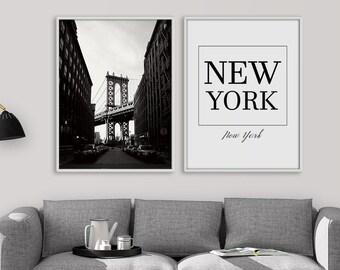 New York Print Set, Brooklyn Bridge Print Set, Brooklyn wall art, Set of 2 Prints, Modern wall art, New York Living room decor, Printable