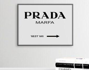 Prada Marfa Print, Texas Prada Wall Art, Prada Decor, Modern Scandinavian Decor, Fashion Print, Prada Store Poster, Prada Marfa Printable