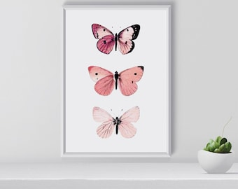 Pink Butterfly Art Print Pink Wall Art Printable Butterfly Art Butterfly wall decor Room decor Christmas gift idea nature art print  sc 1 st  Etsy & Butterfly art | Etsy