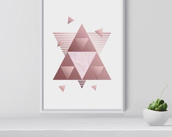 Blush Abstract Art Print, Rose Gold Contemporary Art, Modern Wall Art, Christmas Gift, Gift for Her, Room decor, Digital Download