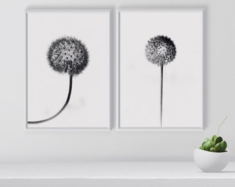 Set of 2 Dandelion Print, Black and White Wall Art, Dandelions, Nature Art Print, Botanical Print, Bedroom Decor, Digital Download,