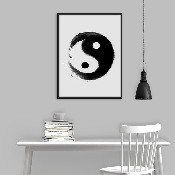 Yin Yang Wall Art Yin Yang Poster Black and white Print Art | Etsy