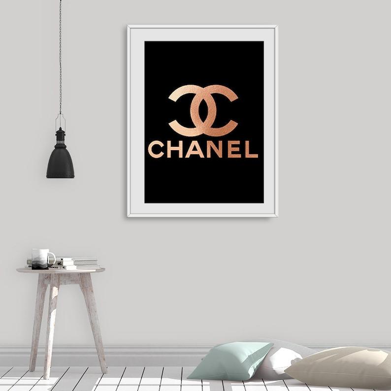 rose gold chanel print coco chanel logo modern fashion | etsy
