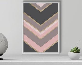 Pink and Gray Chevron Arrows Print, Chevron Arrows Wall Art, Blush and Gold Arrows, Digital Download, Bedroom Printable Decor, wall decor