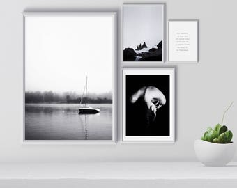 Gallery wall art set, Black and white wall art set, Scandinavian gallery wall, Set of 4 prints,Modern print, Nordic Wall decor, printable