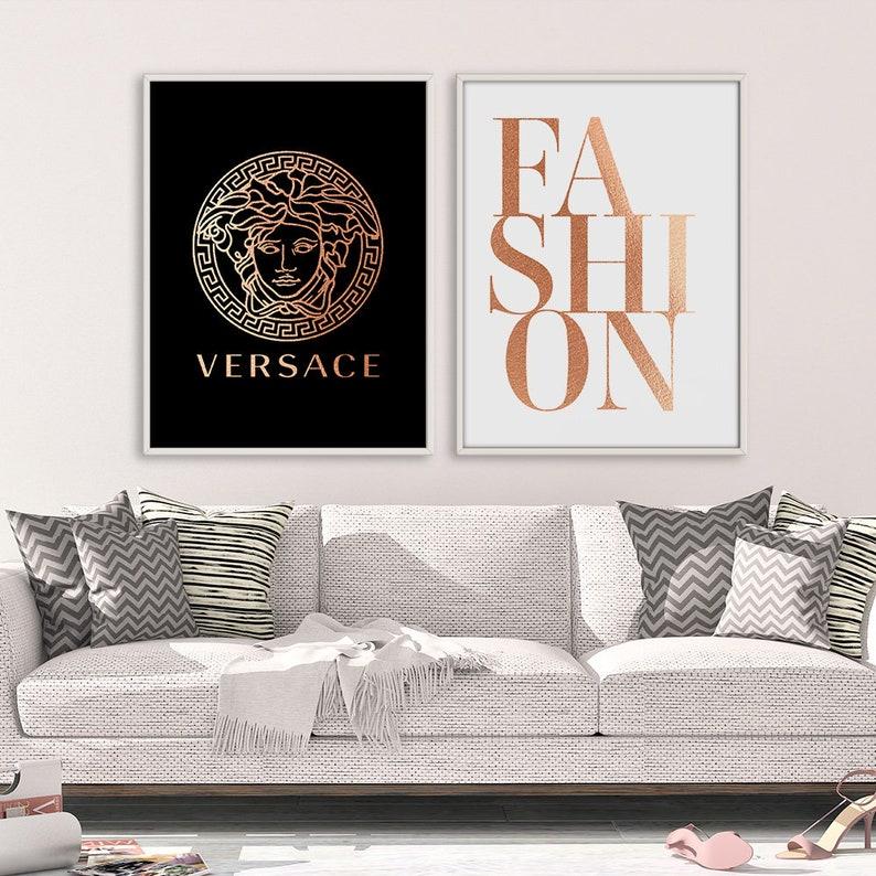 versace wall art versace sign fashion printable rose gold | etsy