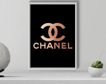 Rose Gold Chanel Print, Coco Chanel Logo, Modern Fashion Print, Chanel Wall Art, Fashion Poster, Chanel Decor, Fashion Decor, Printable