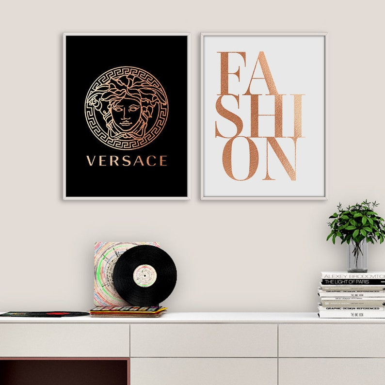 fashion print set versace print set fashion wall art set | etsy