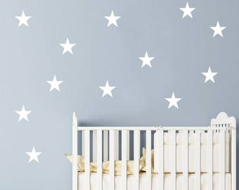 "12 Stars Wall Decals Set 4"" / Nursery Wall Decal. Star Wall Decal. Star Wall Stickers. Wall Vinyl Sticker Nursery. Baby Room Decor Art F11"