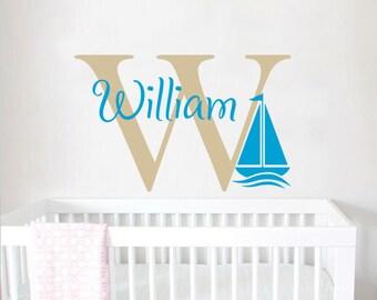 Boys Name Wall Decal Sailboat Wall Sticker Nursery Vinyl Personalized Baby Boy Nursery Decor Nautical Name Boy Kids Nursery Wall Decal F67
