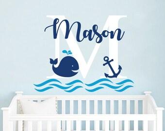 Boys Name Wall Decal / Whale Wall Decal / Nursery Baby Boy Room Decor / Anchor Wall Decal / Nautical Decor / Wall Vinyl Sticker Decals F71