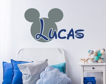 Mickey Mouse Wall Decal Name Boy Nursery Baby Boys Room Decor Personalized Name Wall Decor Children Kids Nursery Decal Vinyl Sticker F74