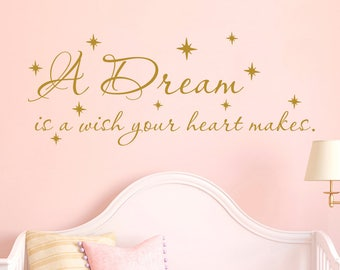 A Dream Is A Wish Your Heart Makes Wall Decal Quotes Cinderella Wall Decal for Girls Bedroom Wall Decor Nursery Wall Decal Vinyl Sticker F73