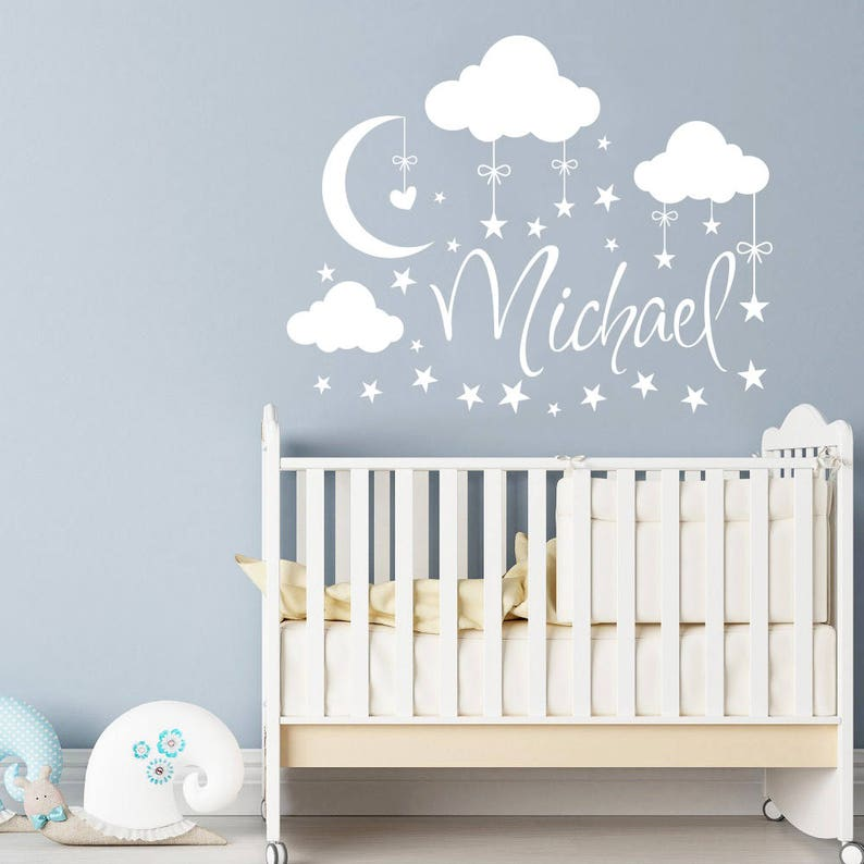 name wall decal boy clouds nursery decals moon decal stars | etsy