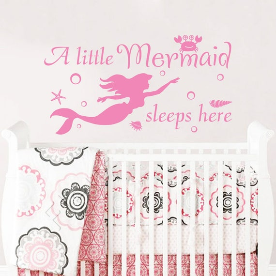 a little mermaid sleeps here wall decal. wall vinyl sticker   etsy