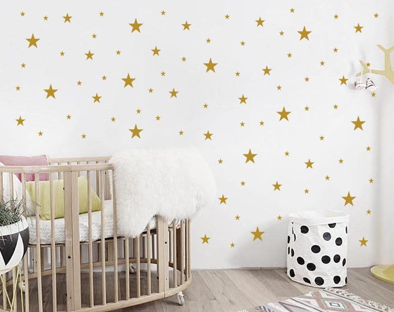 Chambre de bébé étoiles Stickers muraux / sticker mural chambre d'enfant.  Sticker Mural Star. Sticker étoile. Mur en vinyle autocollant chambre ...