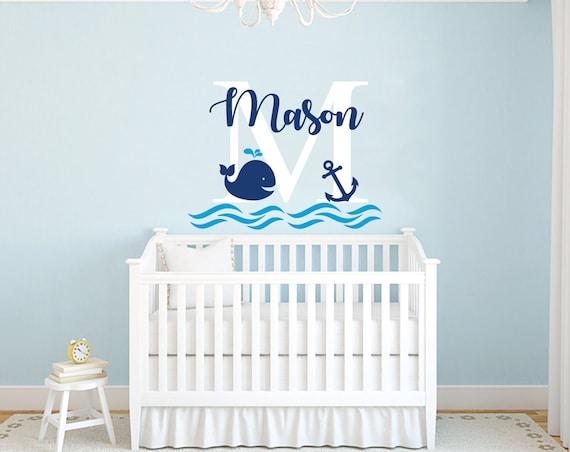 Jungen Namen Wandtattoo Wal Wandtattoo Kinderzimmer Baby Boy Zimmer Dekor Anker Wandtattoo Nautischen Dekor Wand Vinyl Aufkleber Decals F71