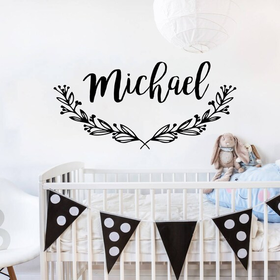 personalized name wall decal / wall sticker nursery vinyl art | etsy