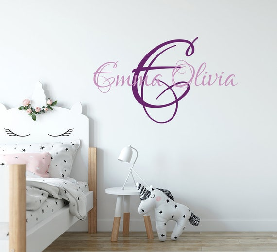 Teen Girl Wall Decal. Wall Sticker Nursery. Baby Girl Nursery Decor.  Monogram Decal. Girl Name Wall Decal. Personalize Wall Decal F19