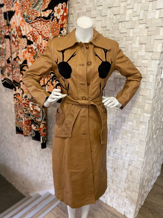 Vintage seventies leather trench coat - image 1