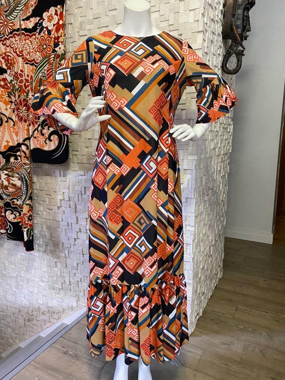 Vintage seventies groovy maxi dress.