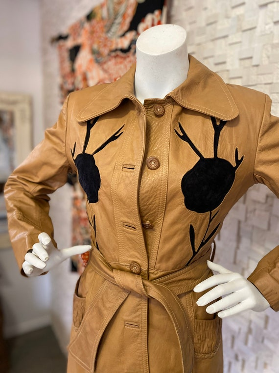 Vintage seventies leather trench coat - image 2