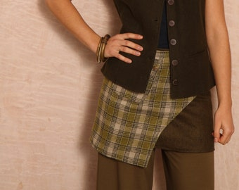 Anu Wool Mini Skirt Willow Green Check