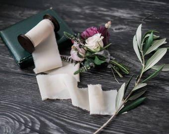 BLUSH/ Hand Dyed Silk ribbon// Silk Ribbon// Natural Dyed RIbbon// Hand Dyed// Plant Dyed// Wedding Ribbon// Bouquet Ribbon