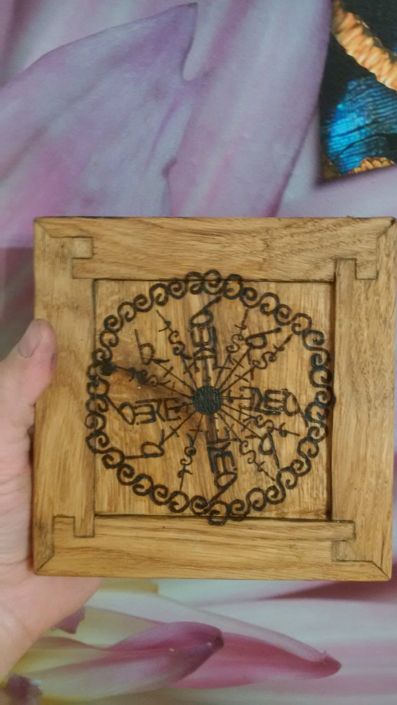 Runic money attractor Cash generator manna Norse wall plaque, Odin, Thor,  Loki, Vegvisir, Altar