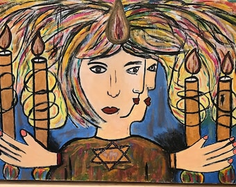 Jewish traditions . Acrylic painting on stretched canvas 60cm x 30 cm