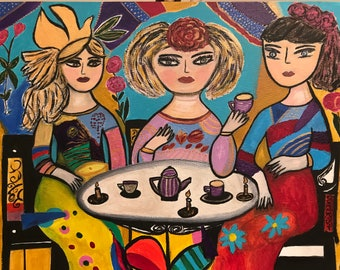 High Tea. Acrylic painting on stretched canvas 50 cm x40 cm