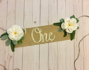 Rustic Banner, High Chair Banner, High Chair Garland, Floral Bohemian Banner