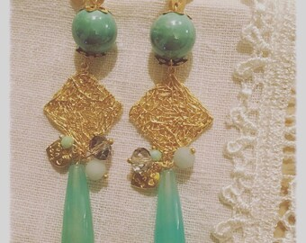 Zamak Earrings with Aquamarine