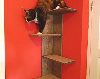 Corner wall mounted cat steps/climbing tree