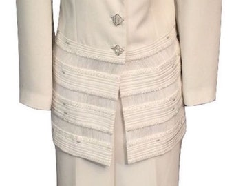 517ed67618b0 Vintage Stunning Emma Somerset Ivory Special Occasion Trouser Suit UK 12