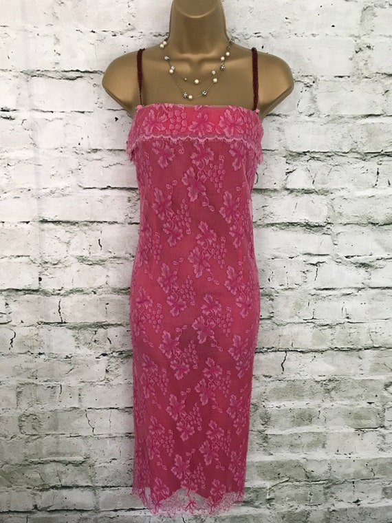 5ddcfbf70e2c Whistles Cerise Pink Lined Lace Summer Special Occasion Dress