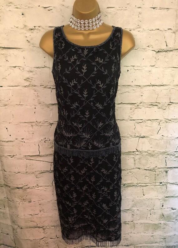 Monsoon Twilight Vintage Black Silk Beaded Skirt &