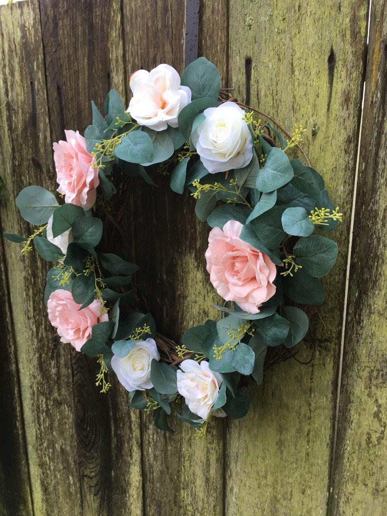 floral wreath Spring wreath wreath greenery wreath farmhouse wreath rustic wreath summer wreath front door wreath year round wreath