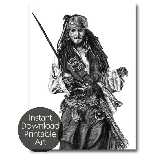 Le capitaine jack sparrow johnny depp crayon dessin art etsy - Dessin johnny depp ...